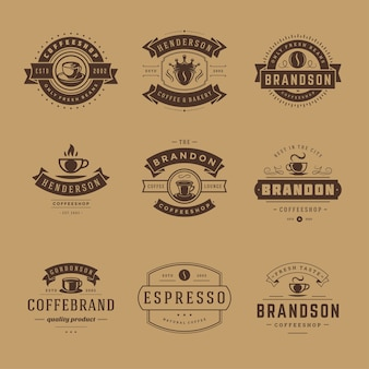Ensemble de modèles de conception de logos de café