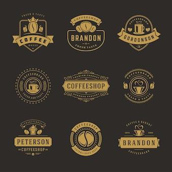 Ensemble De Modèles De Conception De Logos De Café Vecteur Premium