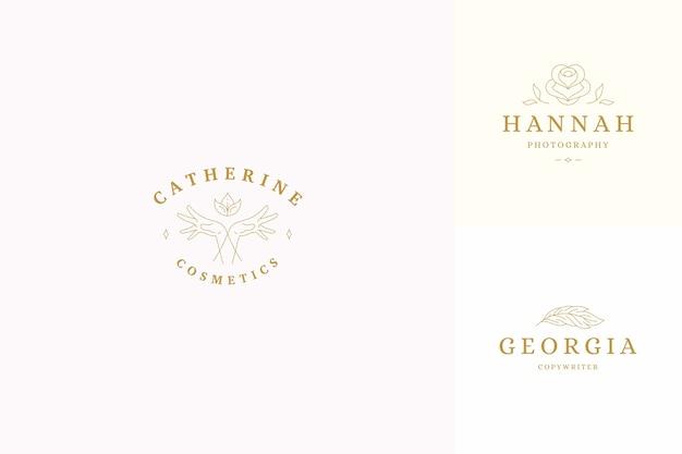 Ensemble de modèles de conception de logos de ligne - illustration de mains de geste féminin style linéaire minimal