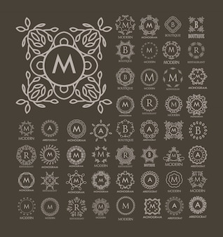 Ensemble de modèles de conception monogramme bleu luxe, simples et élégantes