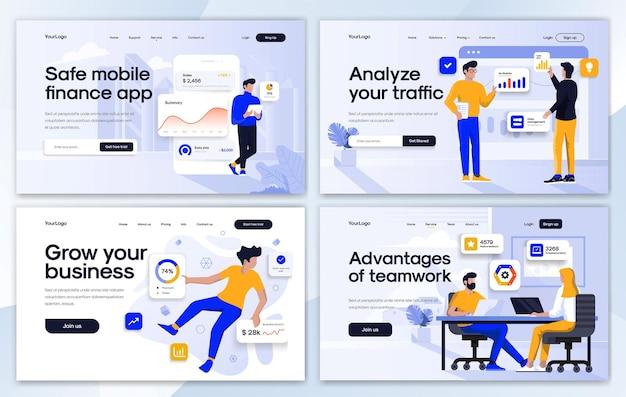 Ensemble de modèles de conception de page de destination dans un style design plat
