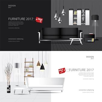 Ensemble de modèles de conception de vente de meubles de bannière