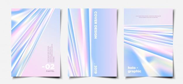 Ensemble de modèles de couverture hologramme pastel élégant