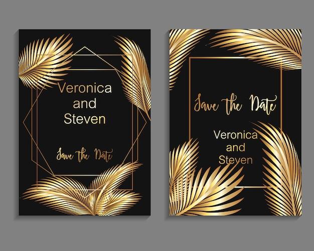 Ensemble de modèles de couverture de luxe. conception de la couverture de vecteur pour invitation de mariage