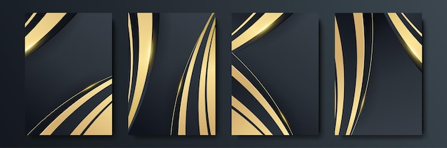 Ensemble de modèles de couverture de luxe. conception de couverture vectorielle pour pancartes, bannières, dépliants, présentations et cartes. collection de fond abstrait noir et or