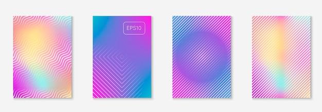 Ensemble de modèles de couverture à la mode minimal. disposition futuriste avec demi-teintes. modèle de couverture minimal géométrique pour livre, catalogue et annuel. dégradés colorés minimalistes. illustration de l'entreprise abstraite.