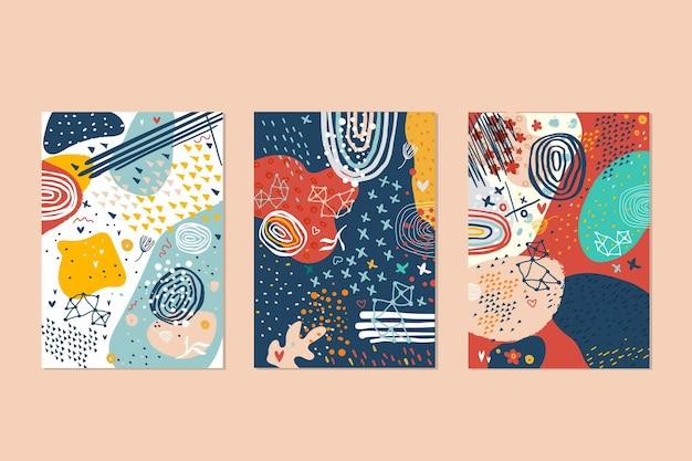 Ensemble de modèles de couvertures de formes dessinées à la main abstraites