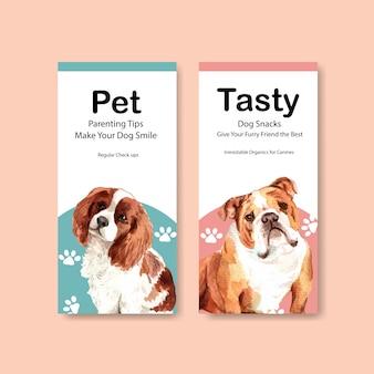 Ensemble de modèles de dépliant publicitaire aquarelle chien
