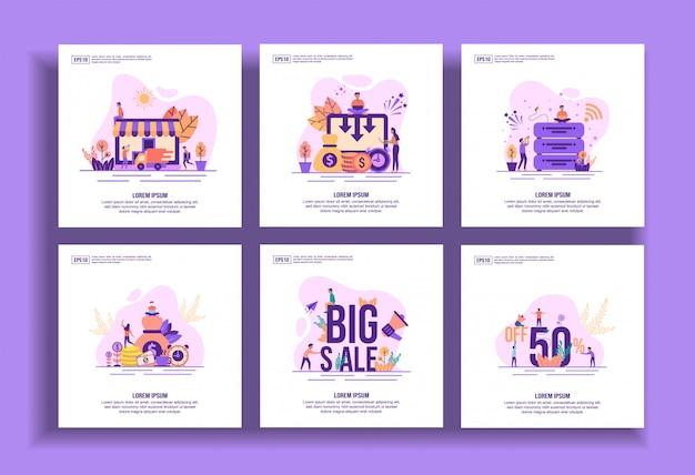 Ensemble de modèles de design plat modernes pour les entreprises, la livraison, la réduction des coûts, les données volumineuses, le succès, la grande vente, la vente au rabais.