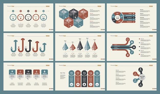 Ensemble de modèles de diapositives infographiques six