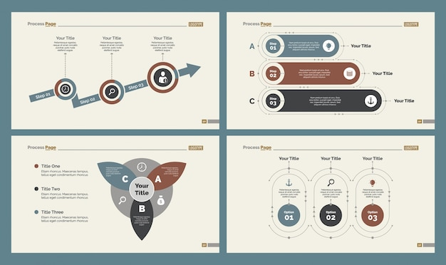 Ensemble de modèles de diapositives à quatre gestion