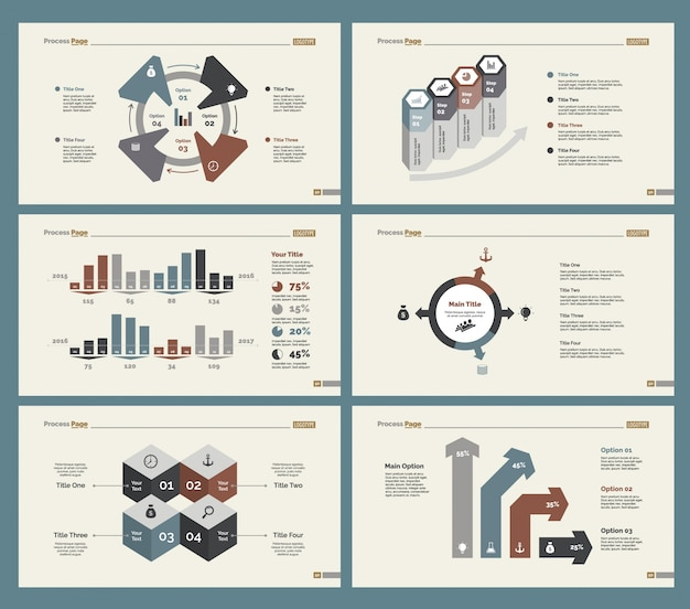 Ensemble de modèles de diapositives à six gestion