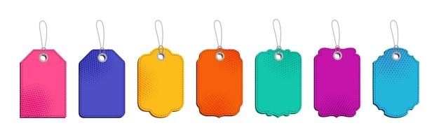 Ensemble de modèles de différentes formes de vente d'étiquettes de prix colorées