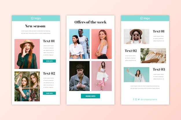 Ensemble de modèles d'e-mail de commerce électronique