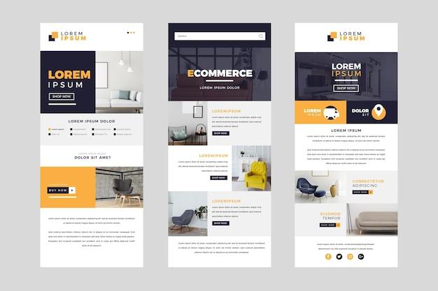 Ensemble de modèles d'e-mails de commerce électronique avec photos
