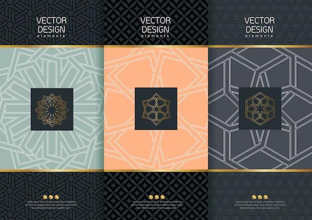 Ensemble de modèles d'emballage, étiquettes noires et cadres pour l'emballage de produits de luxe dans un style linéaire branché, bannière, identité, image de marque, motif doré dans un style linéaire branché, illustration