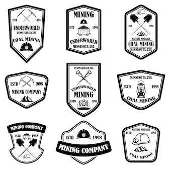 Ensemble de modèles d'emblème de société minière de charbon.