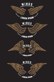 Ensemble de modèles d'emblème vintage avec des ailes. éléments pour logo, étiquette, emblème, affiche. illustration