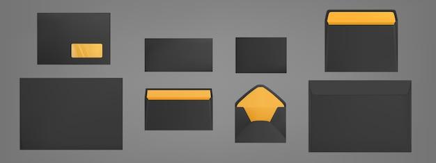 Ensemble de modèles d'enveloppes noires. couvertures en papier vierge