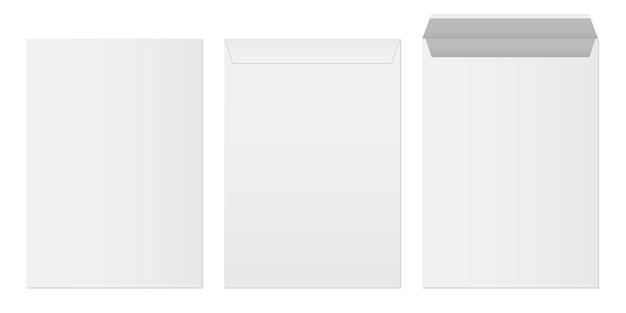 Ensemble de modèles d'enveloppes en papier blanc vierge.
