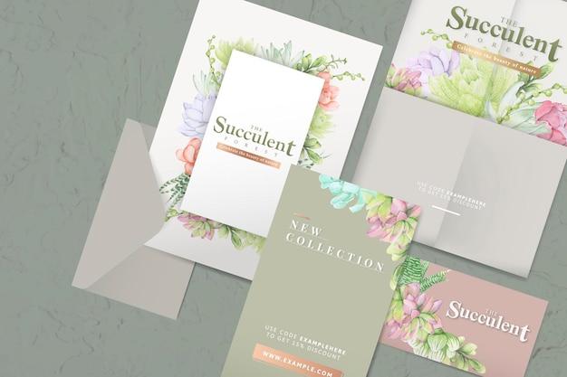 Ensemble de modèles d'enveloppes sur le thème succulentes dessinés à la main