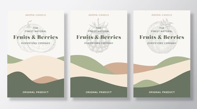 Ensemble de modèles d'étiquettes de bougie arôme. parfum de fruits et de baies provenant de la conception d'annonces de fournisseurs locaux. disposition de fond de croquis avec décor de vagues abstraites. espace de texte sur l'emballage du produit à odeur naturelle