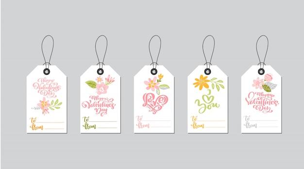 Ensemble de modèles d'étiquettes cadeaux saint valentin