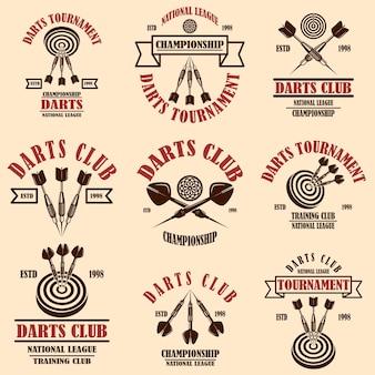 Ensemble de modèles d'étiquettes de club de fléchettes. élément de design pour logo, étiquette, signe, affiche, t-shirt.