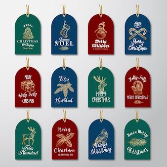 Ensemble de modèles d'étiquettes ou d'étiquettes cadeaux de noël et du nouvel an à paillettes dorées.