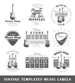 Ensemble de modèles d'étiquettes musicales vintage