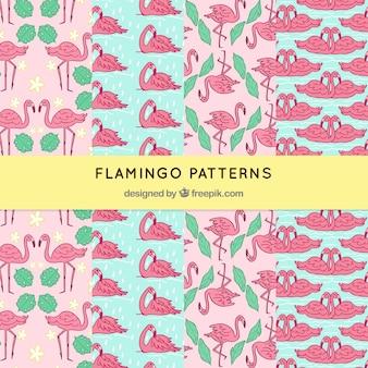 Ensemble de modèles de flamants roses avec des plantes