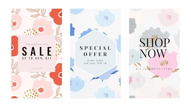 Ensemble de modèles floraux de promotion de vente