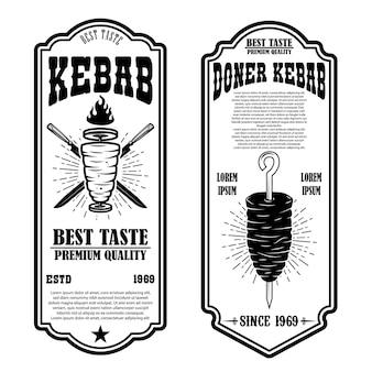 Ensemble de modèles de flyer vintage doner kebab