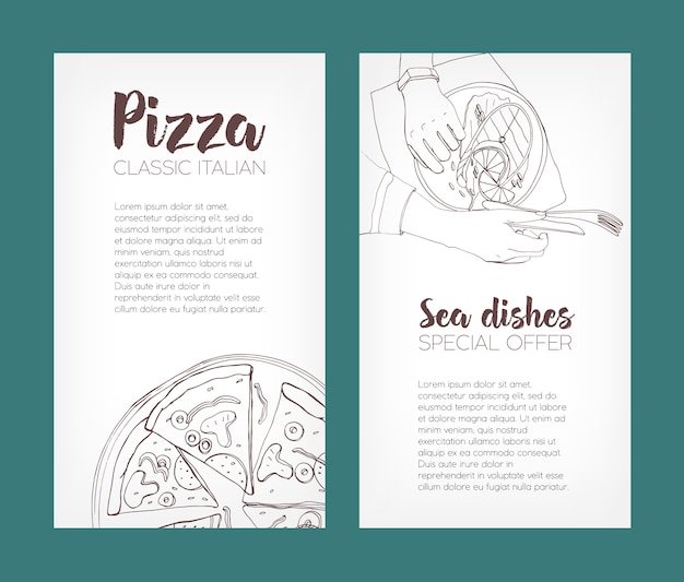 Ensemble de modèles de flyers avec des dessins de contour de pizza classique et steak de saumon grillé sur des assiettes et place pour le texte. illustration dessinée à la main pour la publicité de restaurant de pizzeria ou de fruits de mer.