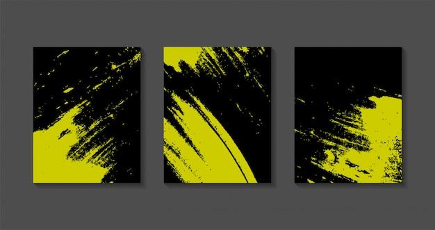 Ensemble de modèles de fond coloré grunge noir et jaune.