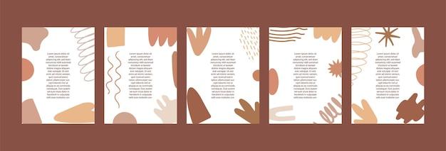 Un ensemble de modèles avec des formes. abstrait avec un espace pour le texte dans le style scandinave.