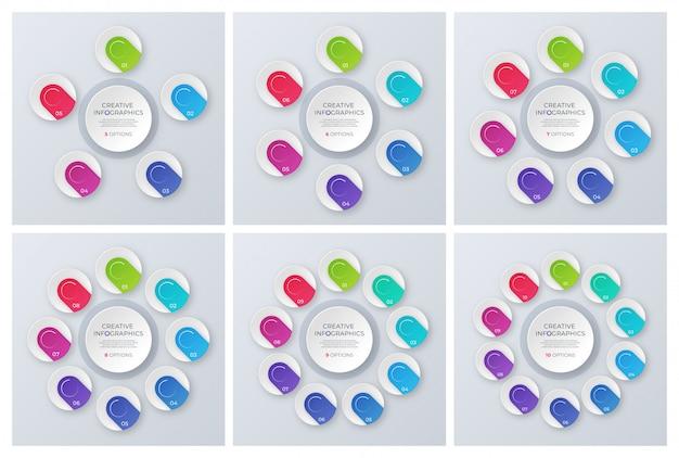 Ensemble de modèles de graphiques circulaires contemporains, infographie d