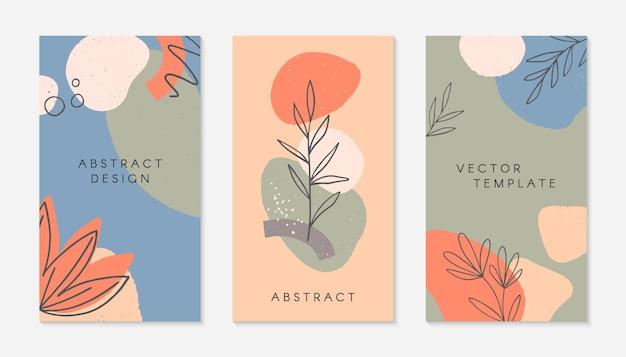 Ensemble de modèles d'histoires créatives avec espace de copie pour le texte.mises en page modernes avec des formes et des textures organiques dessinés à la main.