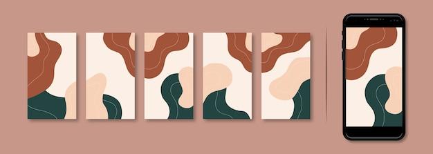 Ensemble de modèles d'histoires instagram abstraites