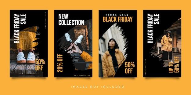 Ensemble de modèles d'histoires instagram de médias sociaux vendredi noir