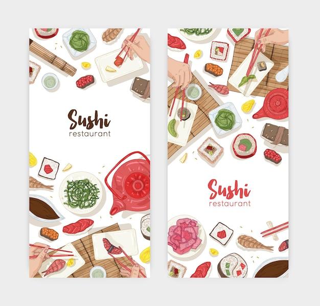 Ensemble de modèles d'histoires instagram avec table à manger et mains tenant des sushis, des sashimis et des rouleaux avec des baguettes