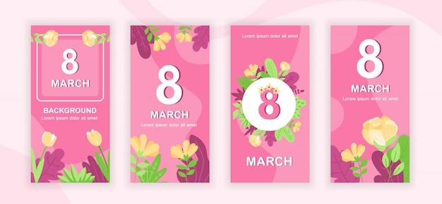 Ensemble de modèles d'histoires de médias sociaux du 8 mars