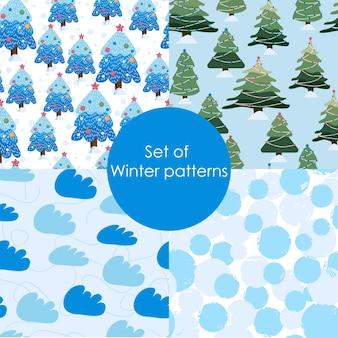 Ensemble de modèles d'hiver. modèle de noël sans couture. définir l'illustration vectorielle