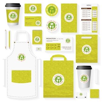 Ensemble de modèles d'identité d'entreprise de café végétalien
