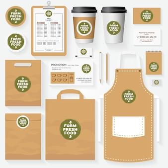 Ensemble de modèles d'identité d'entreprise de nourriture fraîche de ferme