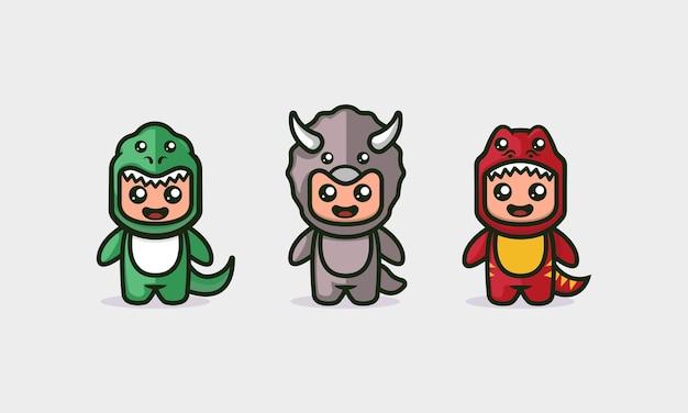 Ensemble de modèles d'illustration de vecteur de mascotte mignonne de dinosaure