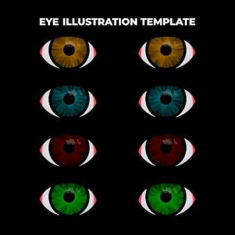 Ensemble de modèles d'illustration des yeux