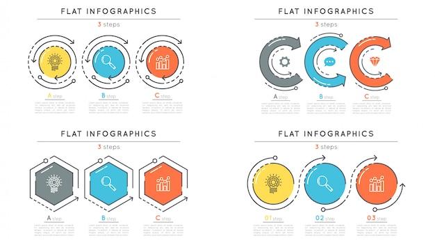 Ensemble de modèles d'infographie de chronologie d'étapes de style plat