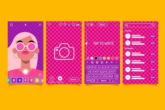 Ensemble de modèles d'interface d'histoires colorées instagram