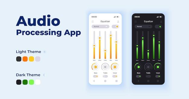 Ensemble de modèles d'interface de smartphone de dessin animé d'application de traitement audio